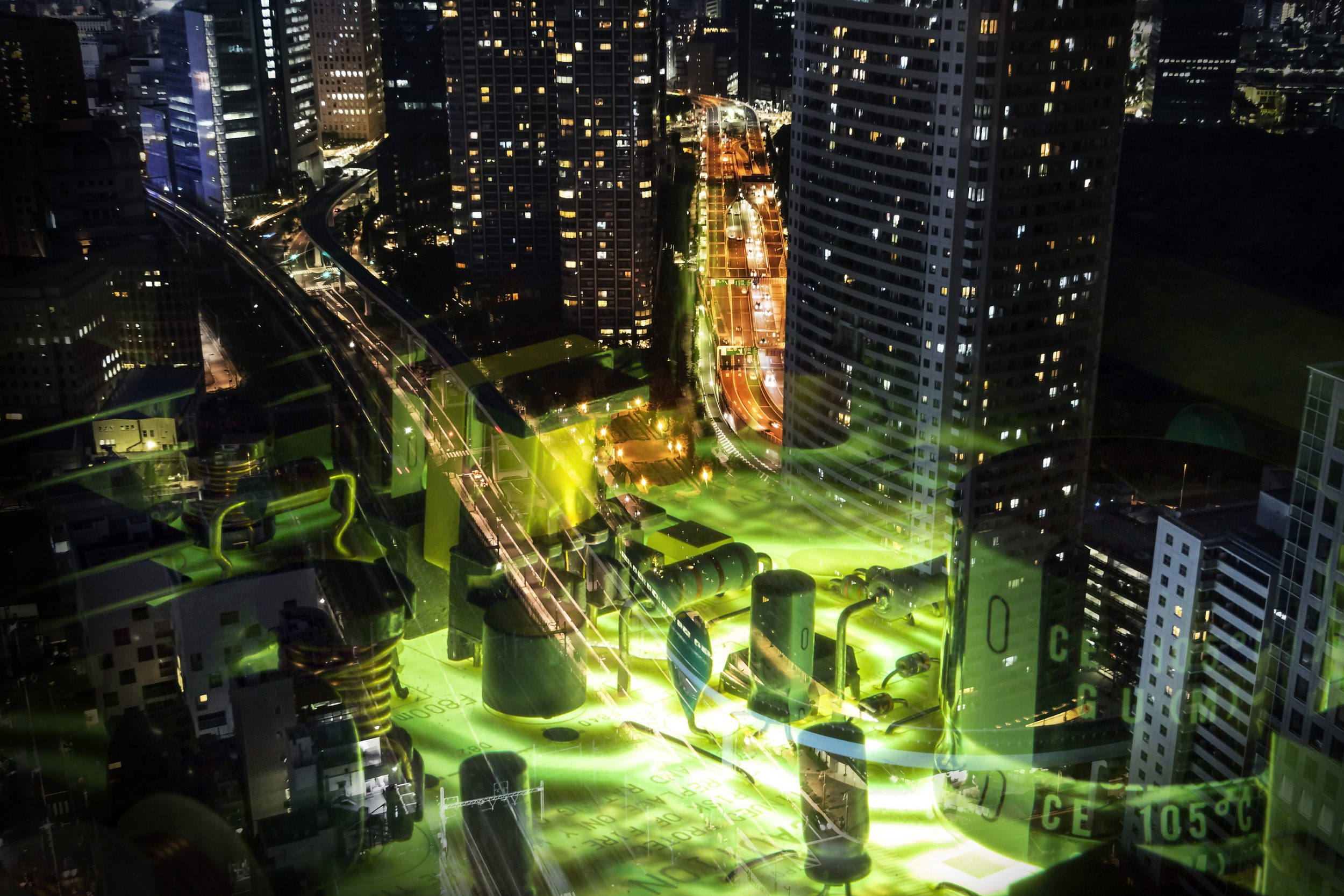 fusion of modern cityscape and electric circuit board, smart city, smart grid, technological abstract image visual