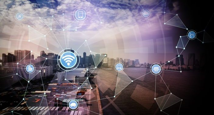 smart logistics and wireless communication network, abstract image visual, internet of things